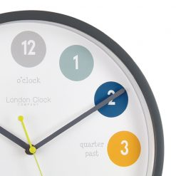Close up of Grey Tell The Time Silent Wall Clock