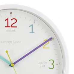 Close up of White Tell The Time Silent Wall Clock