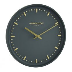 Black art wall clock with gold notches