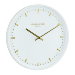 White wall clocks with gold raised notches and hands