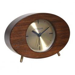 Dark wooden framed alarm clock