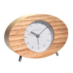 Oval shape alarm clock with wooden frame