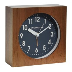 Wooden alarm clock with dark face