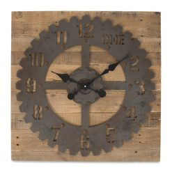 Round Gear Metal Wall Clock with Black Hands