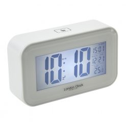 Rectangle shaped digital alarm clock with lit up display