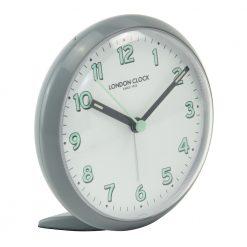 Round faced grey alarm clock