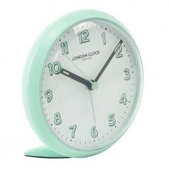 Teal coloured round faced alarm clock