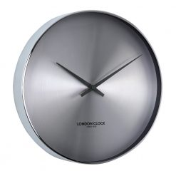 Chrome round wall clock with no numerals