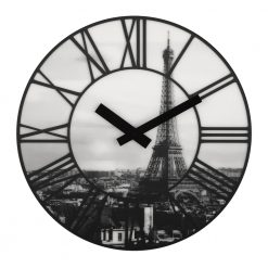 Front shot of La Ville wall clock showing Eiffel Tower image in black and white