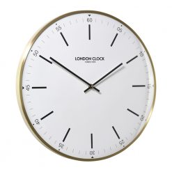 White wall clock with attractive gold brass edging