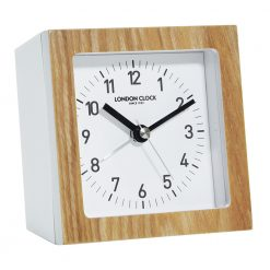 Wooden framed alarm click with minimal face