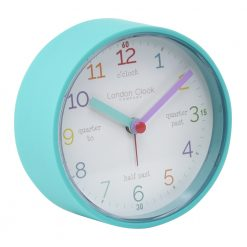 teal coloured alarm clock with time words around numbers