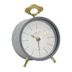 Charcoal coloured alarm clock with round front and gold legs