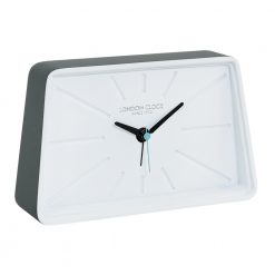 White faced alarm clock with black hands and teal second hand