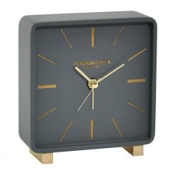 Grey alarm clock with gold etching