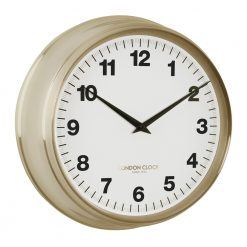 Round gold Coach wall clock with black hands