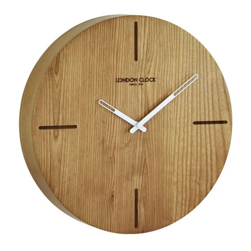 Round wooden Eldo wall clock with white hands