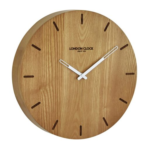 Round wooden Elis wall clock with white hands