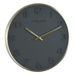Round grey Elvie wall clock with gold color hands