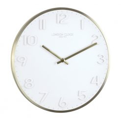 Round white Elvie wall clock with gold color hands