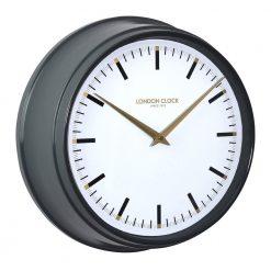 Black round Hatton metal wall clock