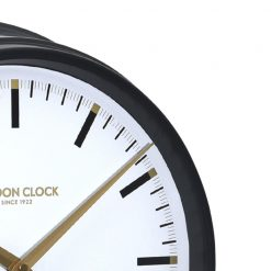 Close-up of black round Hatton metal wall clock
