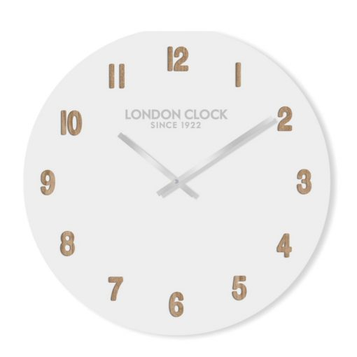 White Hvit wall clock with numeral markings