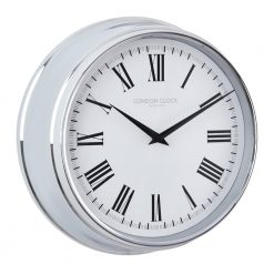 Round Lancaster chrome wall clock with black hands