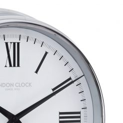Close up of round Lancaster chrome wall clock with black hands