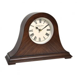 Wooden silent mantle clock with black hands