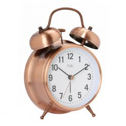 Photo of 18cm brushed copper coloured alarm clock with twin bells