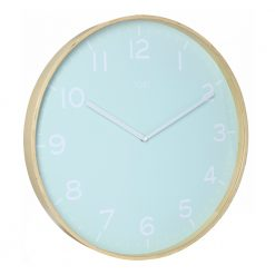 Photo of large wall clock with duck egg colour face and white numbers