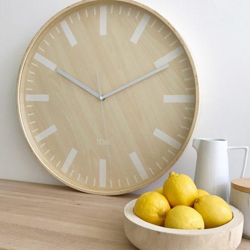 Lifestyle image of 51 cm silent sweep wooden clock with white hands