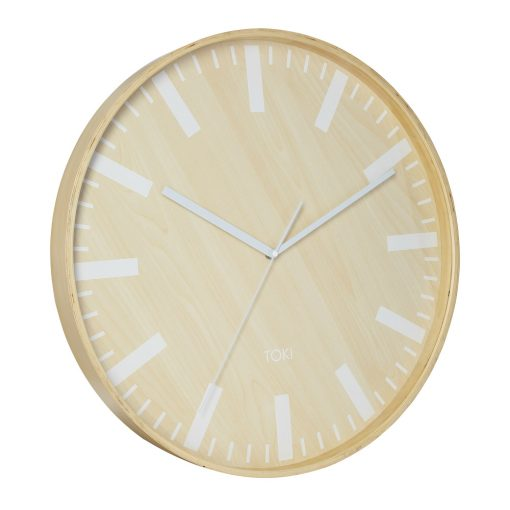 Photo of large wooden clock with white hands and markers