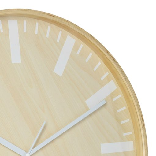 Close up photo of 51cm wooden clock with white hands and markers