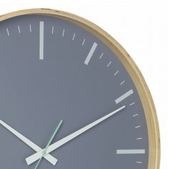Close up image of 51cm wooden silent sweep wall clock with grey face