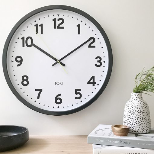 Lifestyle photo Photo of silent sweep wall clock in charcoal colour