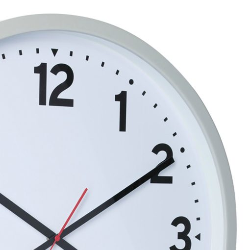 Close up photo of 50cm wall clock with cool grey case and white face