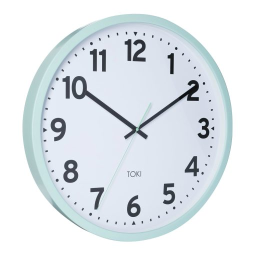 Photo of silent sweep wall clock in duck egg outer case colour and white face