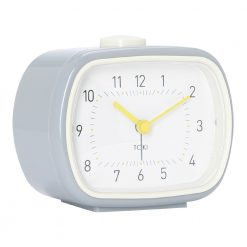 Photo of silent sweep alarm clock in cool grey colour
