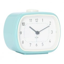 Photo of duck egg or teal colour alarm clock with silent sweep, white face