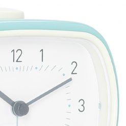 Close up photo of duck egg coloured silent sweep alarm clock
