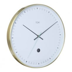 Photo of 40cm brushed gold silent sweep wall clock with white face.