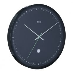 Photo of large wall clock with duck egg coloured hands and black case and face.