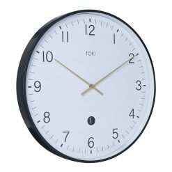Photo of large white wall clock with silent sweep and date display
