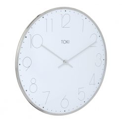 Photo of large silent sweep wall clock with chrome case and white face