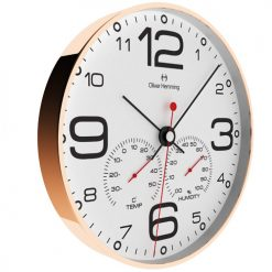 side view image of 30cm copper outer case wall clock with white face and weather and temperature display