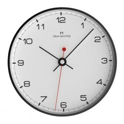 Front view image of simple 30cm wall clock with black steel casing, black hands and black numbers