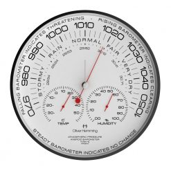 Close up photo of simple weather station wall clock with black numbers, red hands and black steel case