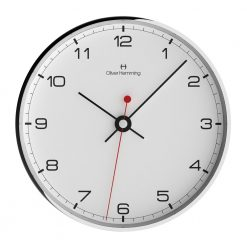 Front view photo of contemporary chrome steel wall clock with black numbers and black hands